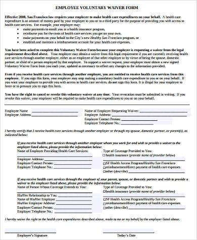 employee voluntary waiver form
