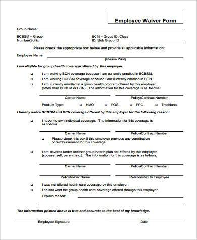 employee waiver form example