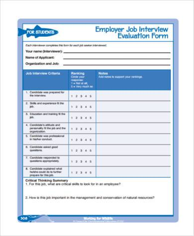 employer interview evaluation form