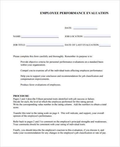 employer performance evaluation form