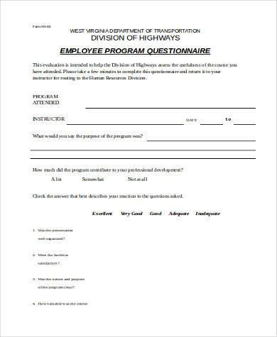 employer training evaluation form