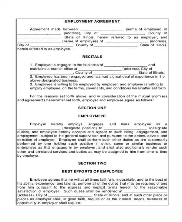 Employment Agreement Samples  Free Samples Examples Format
