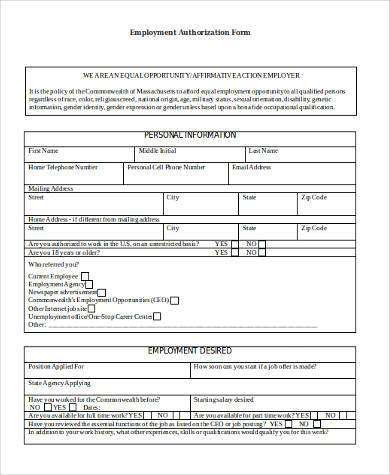 Employment Authorization Sample Forms   Free Documents In Word Pdf
