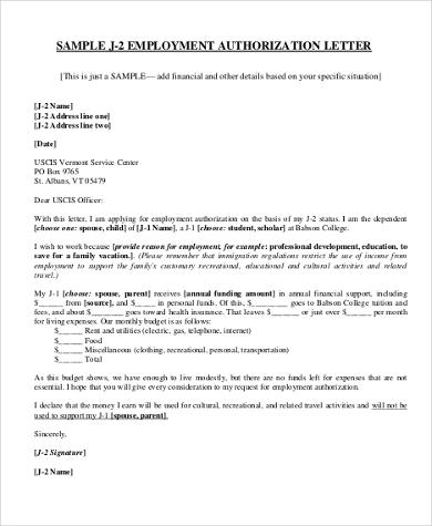 employment authorization letter sample