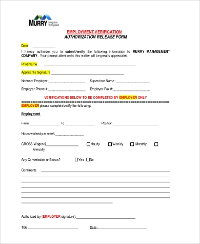 Employment Authorization Form Sample   Free Documents In Word Pdf