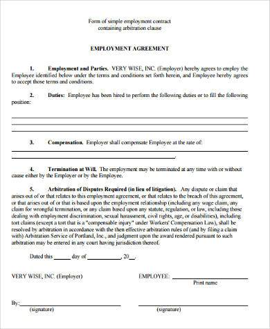 Sample employment agreement forms 9 free documents in word pdf employment contract agreement form platinumwayz