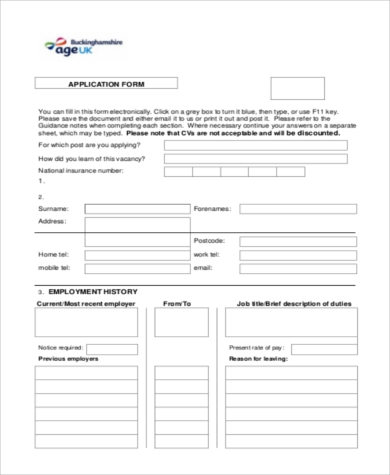 sample employment history forms 9 free documents in word pdf