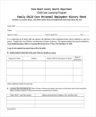 Employment-History-Check-Form Job Application Format Form on