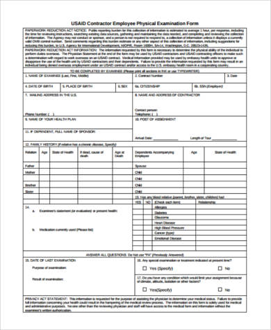employee physical examination form Sample Physical Exam Forms - 8  Free Documents in PDF