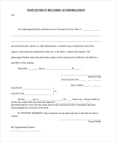 employment records authorization form