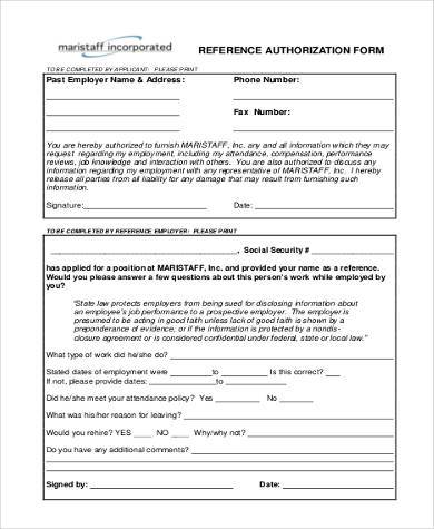 employment reference authorization form1