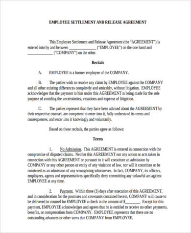 Sample settlement agreement forms 9 free documents in word pdf downloadable employment settlement agreement form platinumwayz