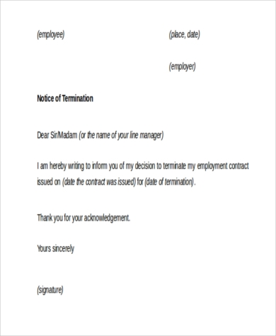employment termination notice letter