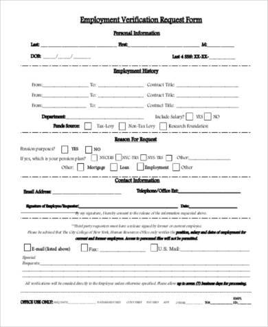 Employment Verification Form Example  Past Employment Verification Form