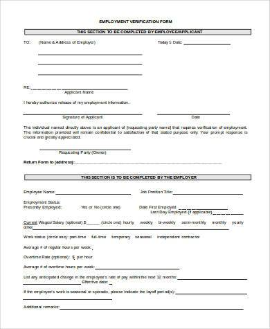 employment verification form in word