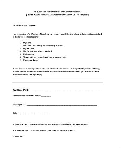 Sample Employment Verification Request Forms - 8+ Free Documents
