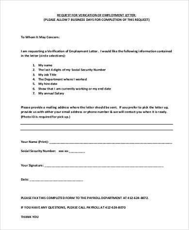 Sample Employment Verification Request Forms - 9+ Free Documents