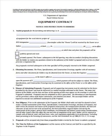 equipment contract form in pdf