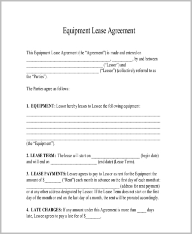 equipment lease rental agreement