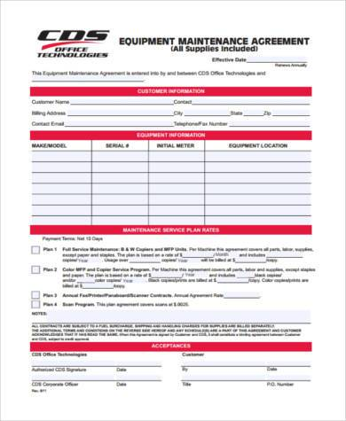 equipment maintenance agreement form