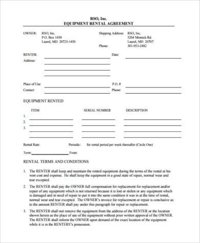 Superior Equipment Rental Contract Form In Equipment Rental Contract Sample