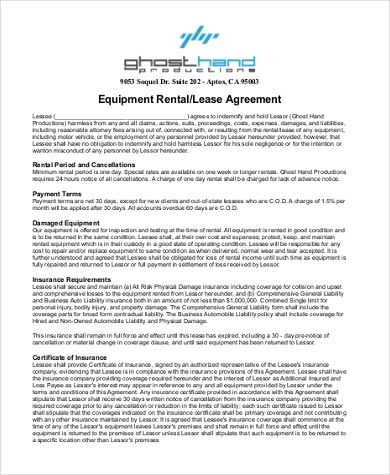 Sample Equipment Lease Agreement Form   Free Documents In Word