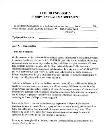 Sample Equipment Contract Forms   Free Documents In Pdf