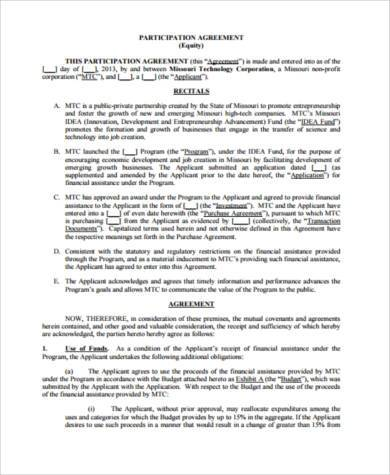equity participation agreement form