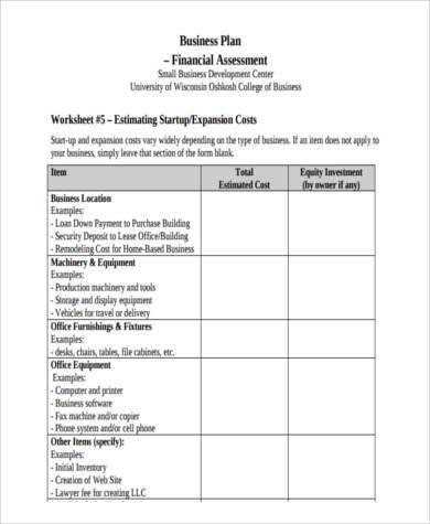 established business financial assessment form