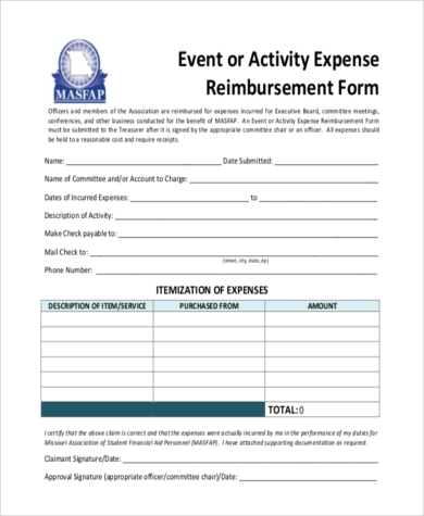 event expense reimbursement form