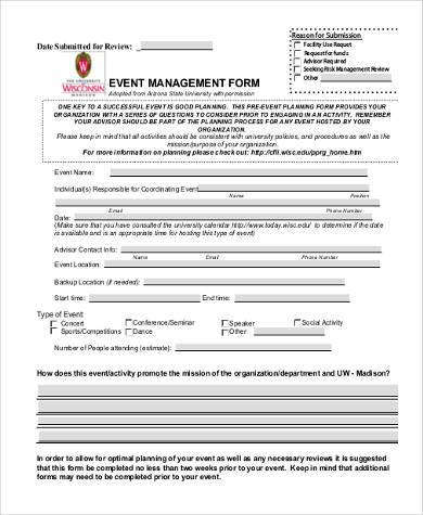 event management evaluation form