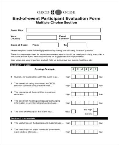 event participant evaluation form