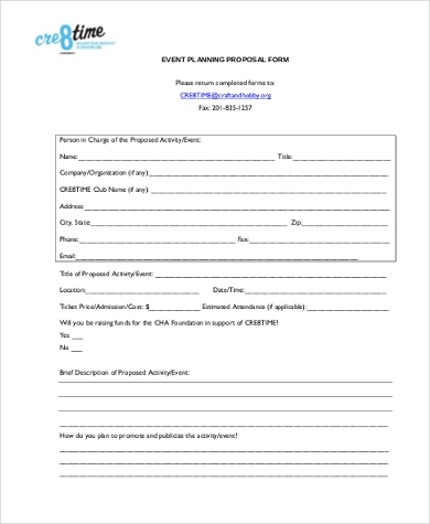 Event Planning Proposal Form In PDF  Event Planning Proposal