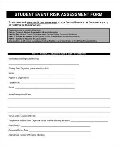 event risk assessment form example1