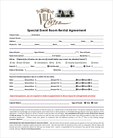 Room Rental Agreement Form Samples - 9+ Free Documents In Pdf