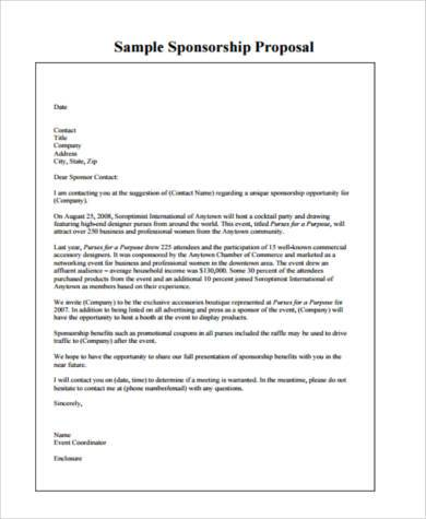 Event Sponsorship Letter Samplesample Proposal For Sponsorship For