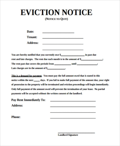 Eviction Notice Form Example  Letter Of Eviction Sample
