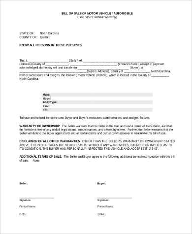 example auto bill of sale form