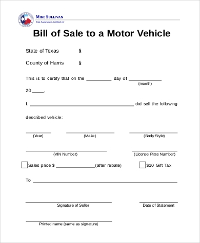 example vehicle bill of sale form