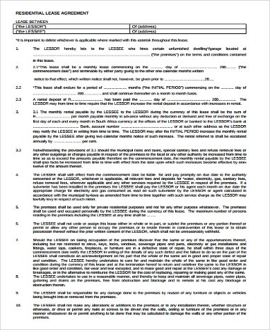 example of a lease agreement for home