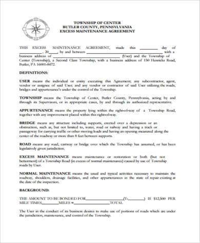 excess maintenance agreement form