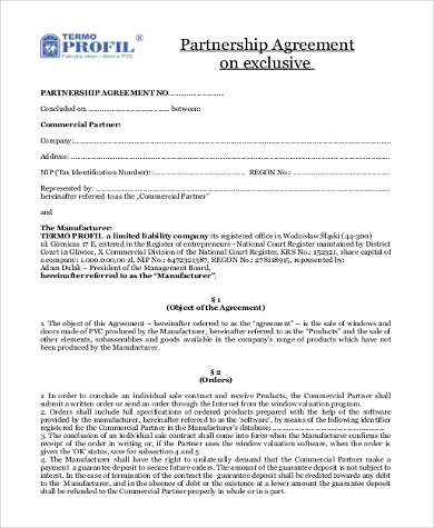 Partnership Agreement Sample   Free Documents In Word Pdf