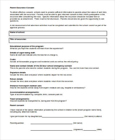 sample parent consent form 9 free documents in word pdf