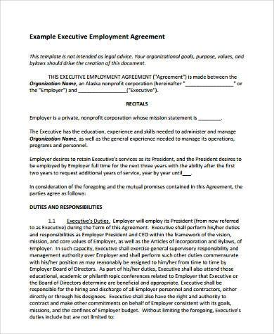 Sample Employment Agreement Forms   Free Documents In Word Pdf