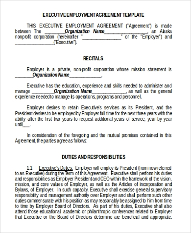 Beautiful Printable Executive Employment Contract Form