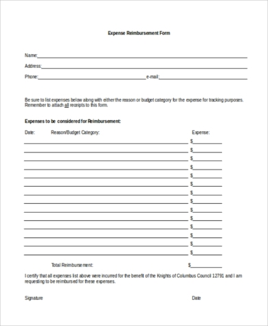 Expense Reimbursement Form Word