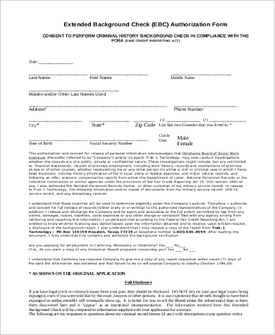 extended background check authorization form