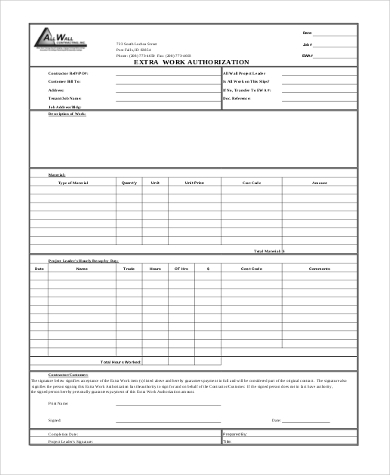 Sample Work Authorization Form   Free Documents In Word Pdf