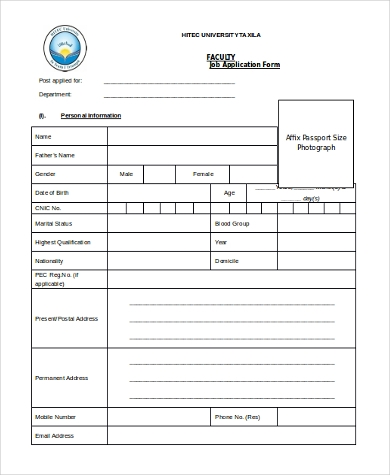 faculty job application form1