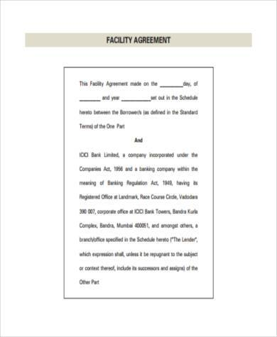 facility agreement form in pdf
